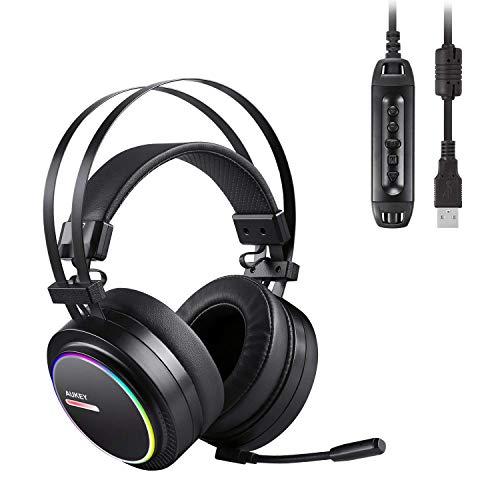 Aukey cuffia gaming headset cuffia usb surround 7.1 con microfono, controllo volume ed effetto rgb blacklighting per pc, ps4 (nero)