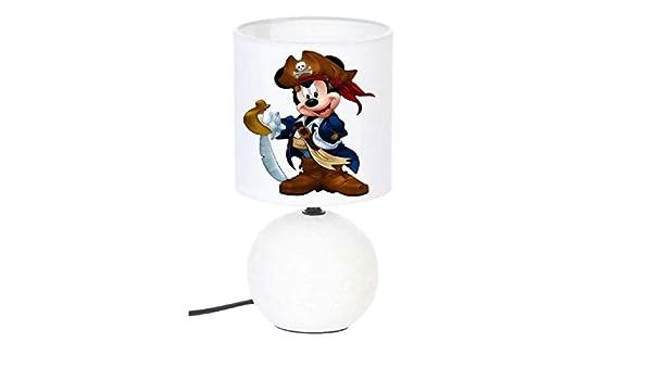 Lampe de chevet MICKEY PIRATE cr/éation artisanale type serviettage lampe c/éramique rose N/° 3