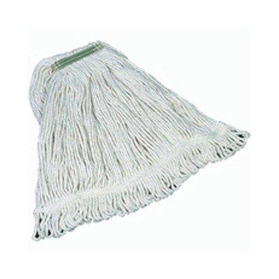 RCPD112 - Super Stitch Mop Heads, Cotton, White, Medium, 1-in. Green Headband by Rubbermaid