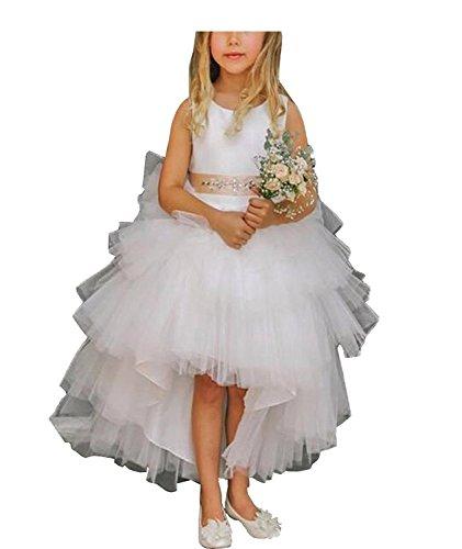 Kostüme Benutzerdefinierte Cinderella (CLLA dress Mädchen Asymmetrisch Blumenmädchen Kleider Festlich Hochzeits Kleid Prinzessin Rüschen Brautjungfern Partykleider(Elfenbein,3-4)