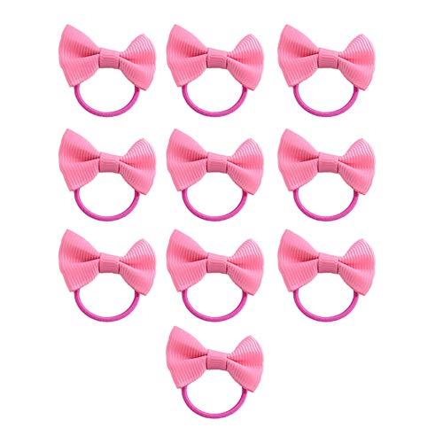 Kentop Bande de Cheveux Elastique Rose Style de l'arc Corde à cheveux Hair Tie Elastique à Cheveux Bande de Cheveux pour Enfant Filles Femme 10PCS