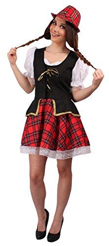 Weiss Cosplay Kostüm Schnee (Schottenkostüm schwarz-weiß-rot für Damen | Größe 40/42 | 1-teiliges Schotten Kostüm | Schottin Faschingskostüm für Frauen | Schottland)
