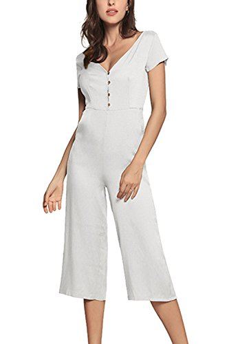 Musfeel Womens Romper Deep V Neck Button Up Wid Pants Jumpsuits