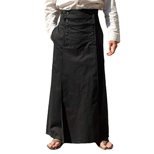 Erwachsene Männliche Für Kostüm - JiXuan S-3XL Mittelalterlichen Vintage Maxi Langen Rock Für Erwachsene Männer Renaissance Bühne Cosplay Kostüm Männlichen Retro Faltenröcke Mit Taste