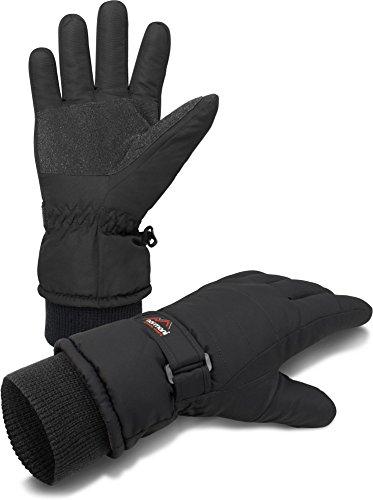 wasserdichte Snowboard- und Skihandschuhe/Winterhandschuhe mit warmen Fleece Innen für Damen und Herren Farbe Schwarz Größe S