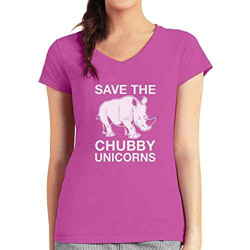 Lustiges Geschenk Save the Chubby Unicorn Damen T-Shirt V-Ausschnitt wow rosa