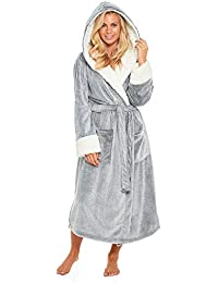 430c70a151 Ladies Fleece Dressing Gown Long Length Luxury Hooded Snuggle Winter Housecoat  Robe Grey Berry Taupe Size