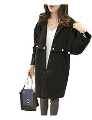ZQQ Otoño e invierno más tamaño mujer solapa suelta trajes de manga larga moda largo gabardina , black , xxxl