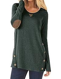 Helury Einfarbig Shirt Langarm Pullover Damen Knöpfe T-Shirt Rundhals Lose  Lang Frauen Bluse Oberteile d2066b75d9