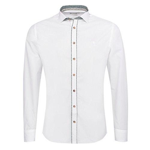 Gweih & Silk Trachtenhemd Body Fit Anderl Zweifarbig in Weiß und Grün, Größe:M, Farbe:Weiß