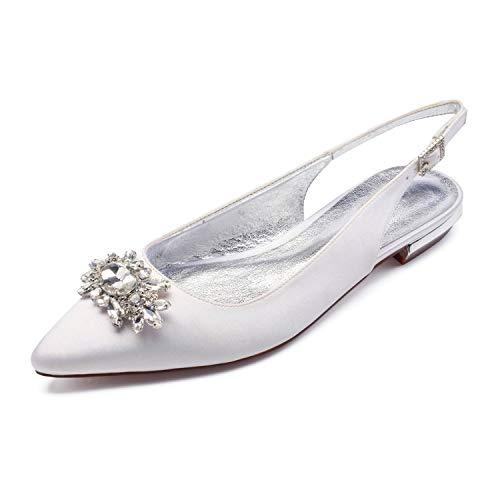 Zxstz scarpe da donna satin comfort ballerina scarpe da sposa punta piatta tacco a punta strass scintillante glitter flower for wedding, bianco, 42