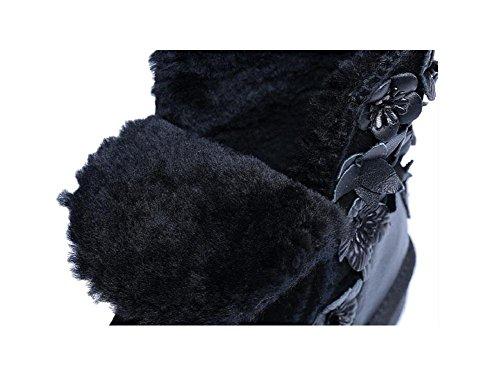 YYH La main agneaux chaude femme laine bottes filles fleurs en cuir et velours chaussures à la mode Black