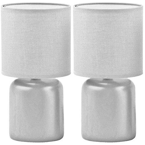 Promobo - Set Ensemble Duo 2 Lampes Design Cylindre Abat Jour Et Pied Coloris Gris
