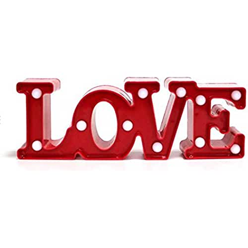 TOOGOO(R) Regalo romantico Lampara LEDs 11 blanco calido 11.81 pulgadas LOVE Luces de noche de bateria para Decoracion de dormitorio San Valentin boda -Rojo