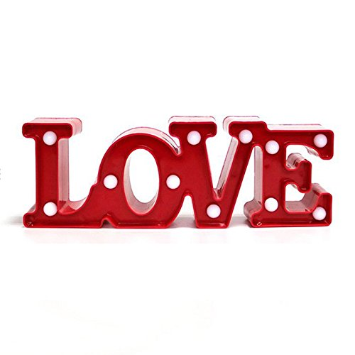 TOOGOO(R) Regalo romantico Lampara LEDs 11 blanco calido 11.81 pulgadas LOVE Luces...