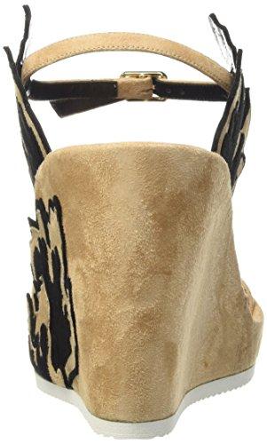 Kallisté - 5633, Scarpe col tacco con cinturino a T Donna Beige (Beige (NERO+CIPRIA))