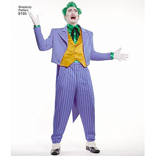 Imagen de simplicity 8195hombres de dc comics joker patrón de costura para disfraz, color blanco, bb 46–48–50–52  alternativa