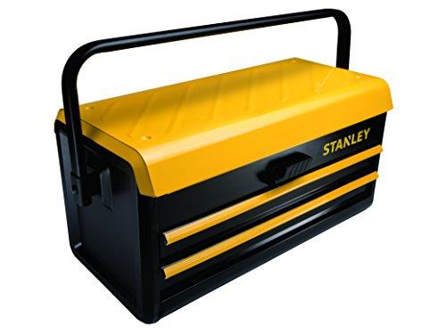 Stanley Werkzeugkasten (19 Zoll, 47,1 x 22,1 x 23,6 cm aus Metall, robuste Werkzeugbox mit zwei Schubladen, Aufbewahrung von Werkzeugen, Metallbox mit Schnellverschluss) STST1-75510