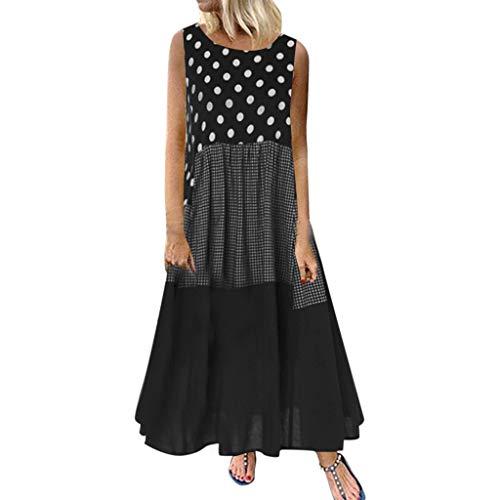 TPulling Gepunktetes Kleid Petite Damen  ärmelloses Mini Hänger Kleid Mit Punkten Bohemian Minikleid (Mini Mesh-rüschen Kleid)