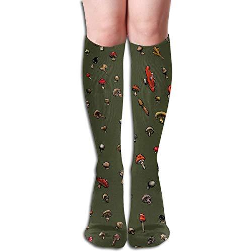 CVDFVFGB Compression Socks Mushroom Green Plant High Boots Stockings Long Hose for Yoga Walking for Women Man (Men's Hockey Kostüm)