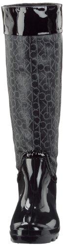 CK Calvin Klein Willa Rubb Ck Logo Pu+Patent, Damen Stiefel Schwarz (Bbk)