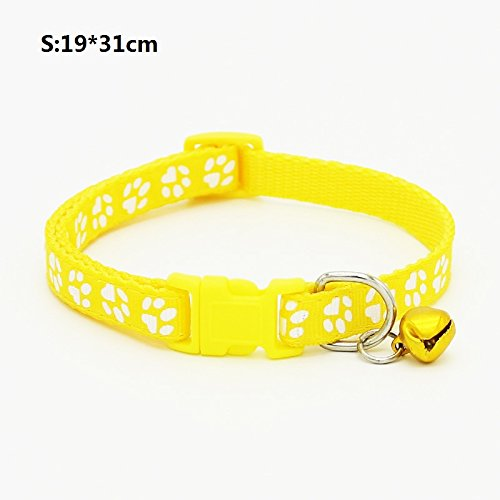 Maycong Einstellbarer Katzenhalsband Paw Print Design Hundehalsband Verstellbar Katzenhalsband mit Glocke Schnellverschluss Sicherheit Schnalle Halskette Halsband für Katzen (Gelb S)