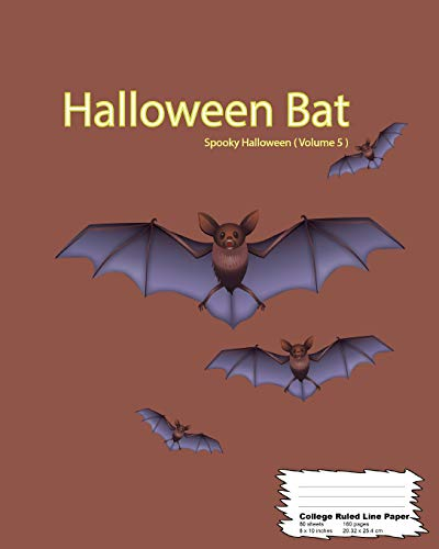 Halloween Bat: College Ruled line paper Notebook, 160 Page (80 sheets), 8