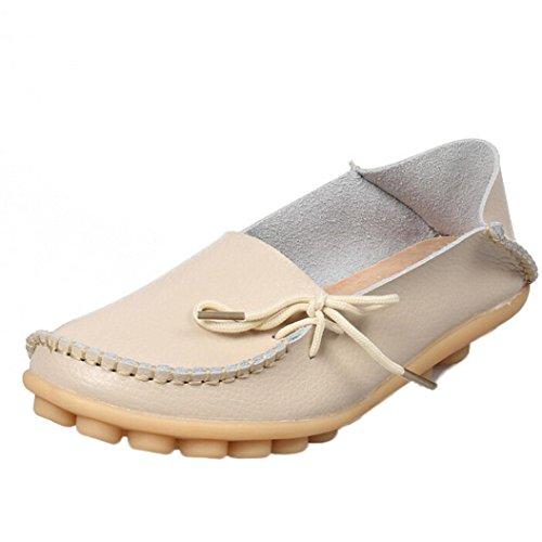 Promotionen UFACE Peas Schuhe Krankenschwester Schuhe mit Sehne Niedrige Hilfe Flache Schuhe Frauen Lederschuhe Loafers Weiche Freizeit Wohnungen (39 EU, Beige)