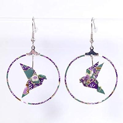 Boucles d'oreilles colombes origami créoles violettes et vertes - crochets inox