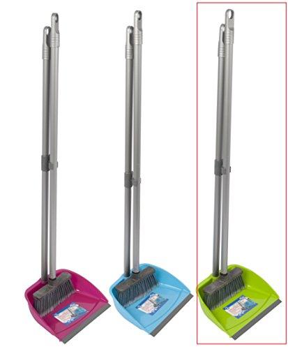 Reinigungsset Kehrset Schaufel Kehrblech Kehrschaufel Kehrgarnitur Kehrbesen Besen Feger Langer Stiel (Modell 2 grün)