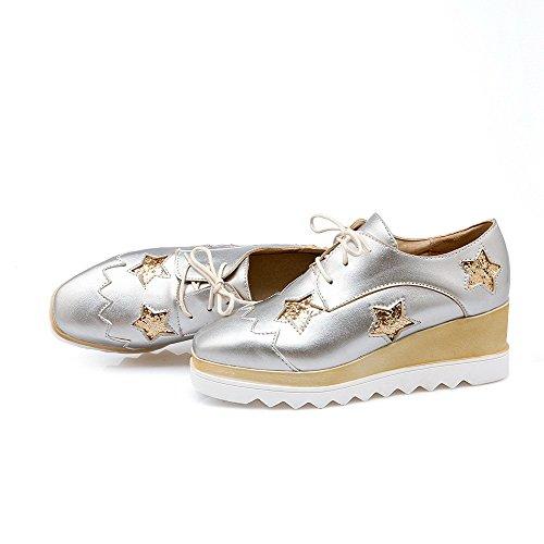 AllhqFashion Damen Rein Mittler Absatz Schnüren Quadratisch Zehe Pumps Schuhe Silber