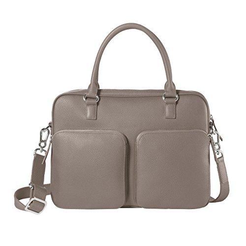 CHI CHI FAN Laptop Bag Lichtgrau   Damen und Herren Umhängetasche aus echtem Leder   Top Qualität und Design treffen auf maximale Funktion und viel Stauraum   Bestens geeignet für Arbeit oder Uni