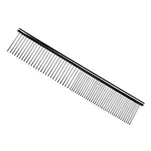 Vikenner Pet Stainless Steel Grooming Comb Row Teeth Brush Hair Cleaning/Shedding/Massaging Comb Rake Tool for Dogs and Cats Short Medium or Long Hair from Vikenner