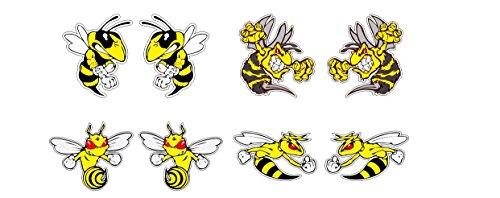 Böse Biene Angry Bee Hornisse Wespe 8x Aufkleber Sticker Set / Plus Schlüsselringanhänger aus Kokosnuss-Schale / Auto Motorrad Laptop Notebook Koffer Skateboard Surfboard Racing Motorsport