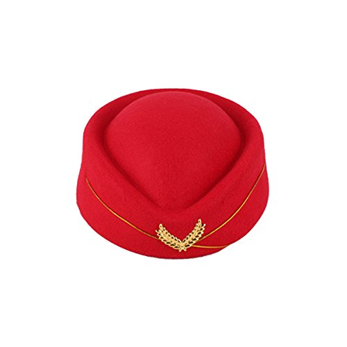 Tinksky Stewardess Hut Wollfilz Pillbox Mützen Damen Kostüm Cosplay Stewardess Cap...