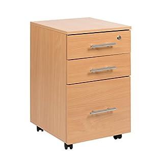 Mobile 3 Drawer Lockable Beech Under Desk Pedestal Unit 40 x 44 x 65 (w x d x h)