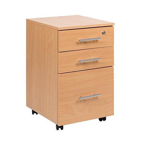 Rollcontainer Mobiler 3 Schubladen Rollschrank abschließbar aus Buche - Schreibtisch Sockel Einheit...