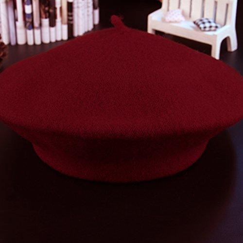 La Vogue Femme Béret Automne-Hiver Bonnet Unisexe Tour De Tête58cm Rouge