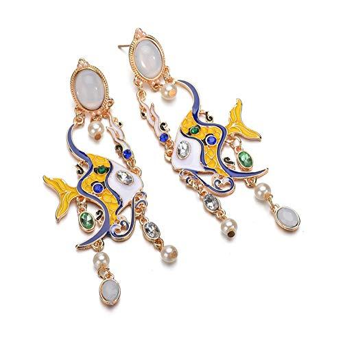 Ohrringe, lange gefärbt fisch ohrclip anhänger kubisch ball simulierter diamant geschenke für frauen freundin mode schmuck sterlingsilber gold kristall glänzend
