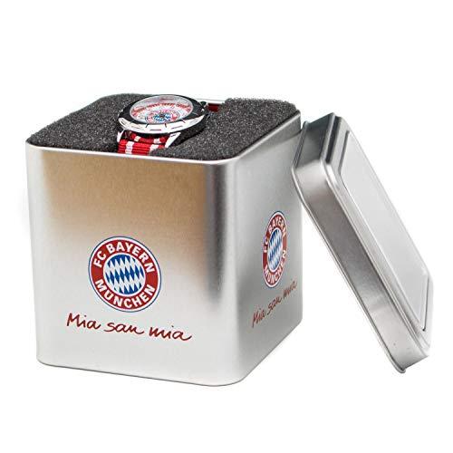FC Bayern München Kinder Uhr, Kinderuhr Rot in Geschenkbox FCB - Plus Gratis Lesezeichen I Love München