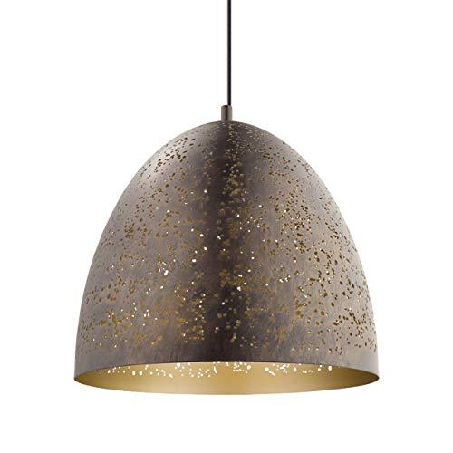 EGLO Pendellampe Safi, 1 flammige Vintage Pendelleuchte im Industrial Design, Retro Hängelampe aus Stahl, Ø: 40,5 cm, Farbe: braun, gold, Fassung: E27