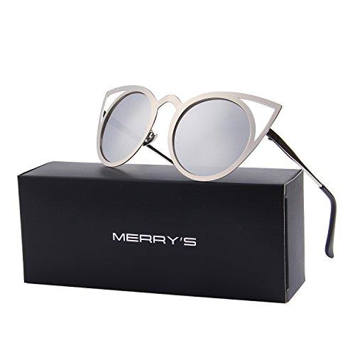 MERRY'S Damen Katzenaugen-Sonnenbrille rundes Metall Cut-Out Flash-Spiegel-Objektiv-Gläser S8064 Silber Kostenlos