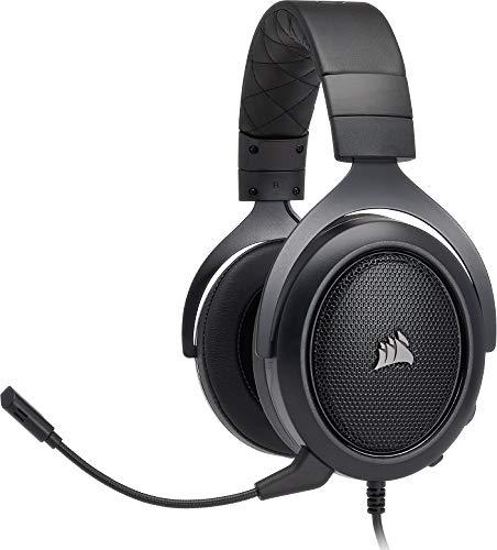 Corsair HS50 Stereo Cuffie da Gaming con Microfono Staccabile per PC/PS4/Xbox/Switch/Mobile, Carbonio