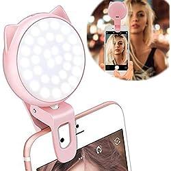 Selfie Ring Light per fotocamera, 9 Modello Clip On [Batteria ricaricabile] Selfie LED Light Camera [32 LED] Compatibile con iPhone, iPad, Sumsung Galaxy, Fotografia Telefoni, Tablet, Laptop (Rosa)