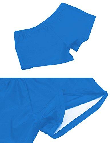 Ekouaer Tankini Damen Neckholder Badeanzug one piece Bikini Push up Sexy Einteiler Monokini Streifen elegant plus Size große größen Blau