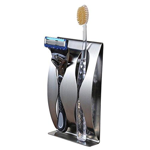 Preisvergleich Produktbild Aolvo 304 Edelstahl-Halter,  Wand montiert selbstklebend Rasierer mit Abziehen und Aufkleben,  für die Badezimmer Unterschrank Waschbecken Platte,  mit Werkzeug-Organizer,  strapazierfähig,  3 Plätze,  2 Slots