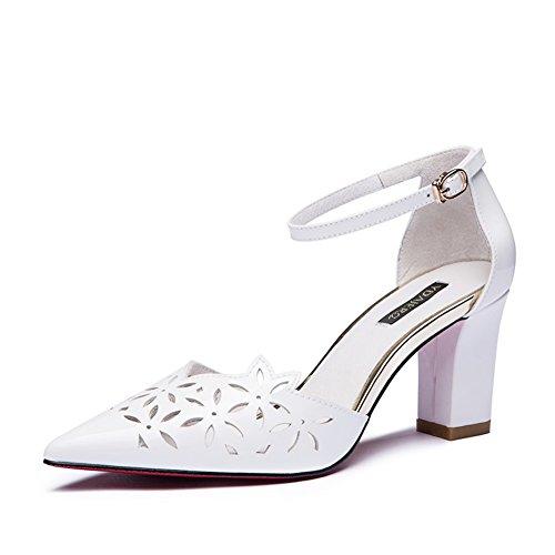 Dame été ajouré boucle en cuir véritable épais creux talons/Chaussures sandales à talons hauts A