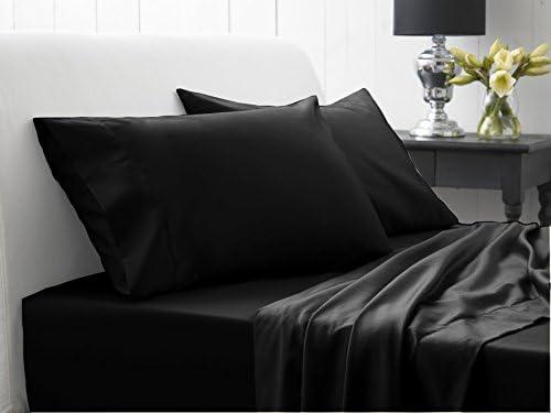 Dreamz Étui Parure de lit Ultra Doux Doux Doux 600 fils/cm² Coton 1 Drap Plat/Drap de dessus massif UK simple, Noir 100% Coton égyptien Surface supérieure feuille 50c60a