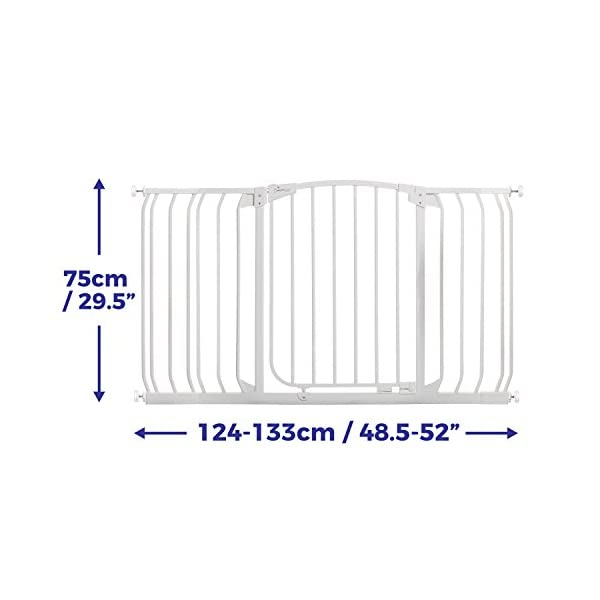 Dreambaby (G2189) Hallway Security Baby Gate White 97cm - 133cm Safetots MEASURE YOUR OPENING BEFORE PURCHASING - This gate kit with extensions fits openings 97 up to 133 cm using the two included 9 cm and 18 cm extensions. It will not fit any opening smaller than 97 cm. If your opening is larger than 133 cm you will require an additional purchase of an extension. VERSATILE AND DEPENDABLE- Our Dreambaby Chelsea gate is loaded with features to not only help make your life easier but safer too. Versatile indeed, it can accommodate openings of 97 up to 133 cm wide and is 75 cm tall. Using optional extensions sold separately, the gate can be extended up to 506 cm. ONE HANDED OPERATION - The One-Handed operation is fantastic for times when you're holding your child and the double locking feature ensures extra security to help keep your child safer. 1