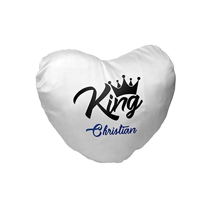 Herz-Kissen mit Namen Christian und King-Motiv für Männer | Geschenk zum Valentinstag für Verliebte | Kuschelkissen